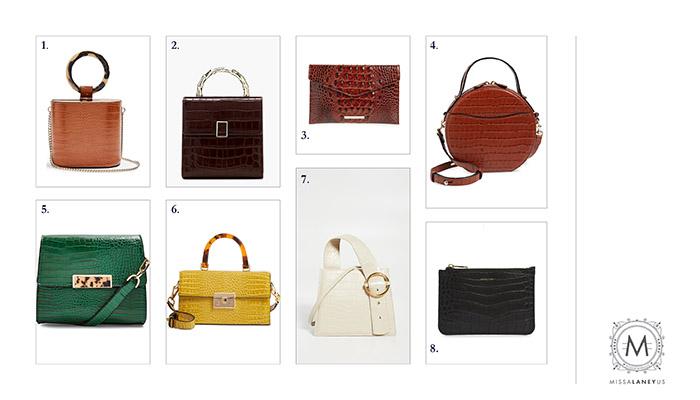 fall fashion croc embossed handbag